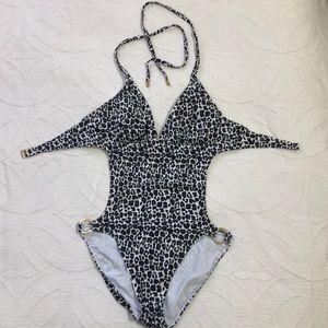 Michael Kors Animal Print Cutout  Swimsuit